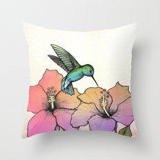 Hummingbird and Hibiscus Throw Pillow