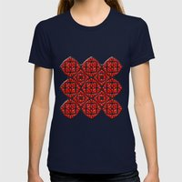 Gothic Red Womens Fitted Tee Navy SMALL