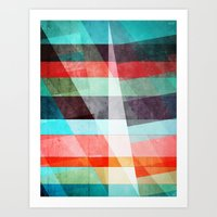 Colorful Grunge Stripes … Art Print