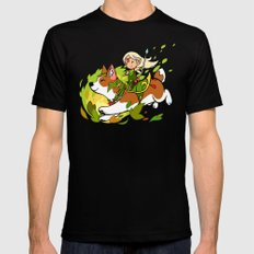 Corgi and Fairy Black SMALL Mens Fitted Tee