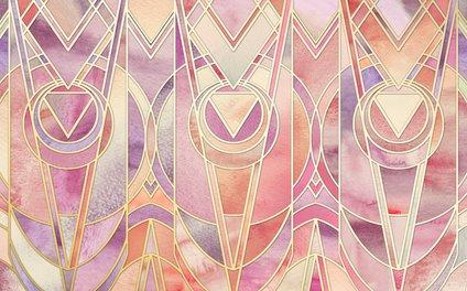 Art Print - Glowing Coral and Amethyst Art Deco Pattern - micklyn