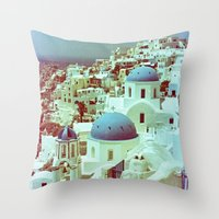 Santorini in Raspberry and Blue: shot using Revolog 600nm special effects film Throw Pillow