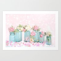 Shabby Chic Aqua Pink Roses Mason Jars Art Print