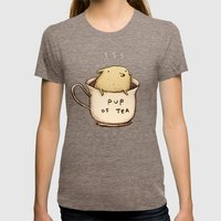 Pup of Tea Womens Fitted Tee Tri-Coffee SMALL