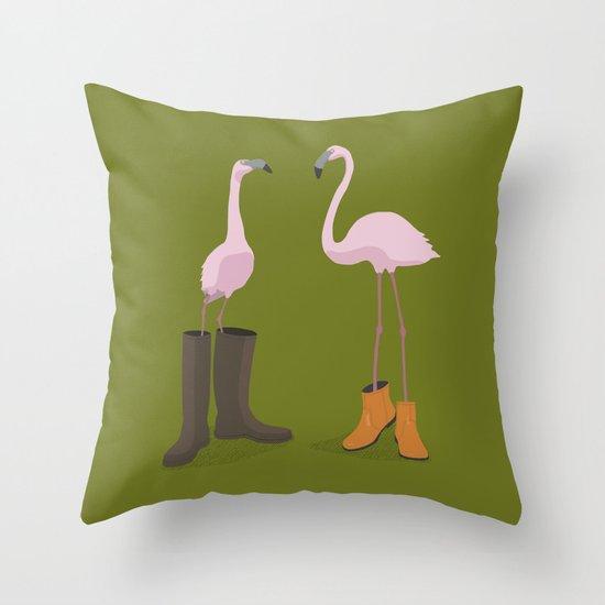 Fashion Flamingos Throw Pillow