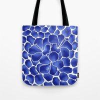 Hibiscus Animal: China Blue Tote Bag