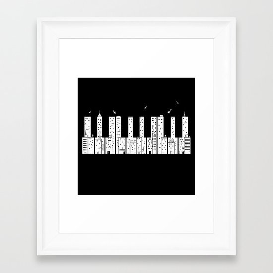 Piano Skyline Framed Art Print