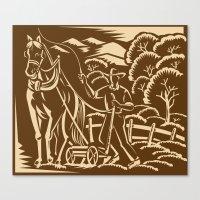 Farmer Farming Plowing W… Canvas Print