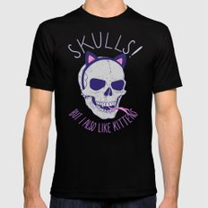 Skulls and Kittens Black Mens Fitted Tee SMALL