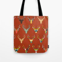 Retro Deer Head Russet Tote Bag