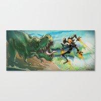 Robot & Rex Canvas Print