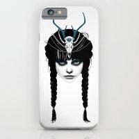 iPhone Cases featuring Wakeful Warrior - In Blue by Ruben Ireland