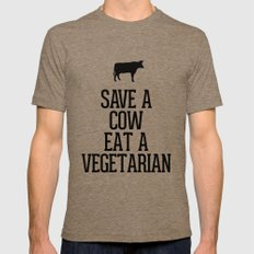 Save A Cow Eat A Vegetar… Mens Fitted Tee Tri-Coffee SMALL