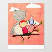 Friendly giant bat and girl digital illustration Canvas Print