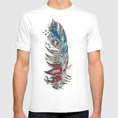 Garden Feather White Mens Fitted Tee SMALL