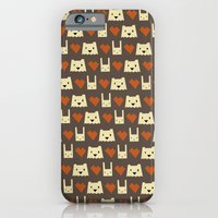 iPhone & iPod Case featuring Yeti hearts bunny pattern by Yetiland