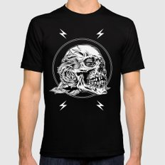 Skull Flower Art Print Mens Fitted Tee Black SMALL