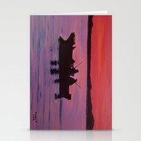 Fishing in the sunset Stationery Cards