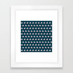 Sailing ships on navy pattern Framed Art Print