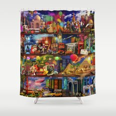 World Travel Book Shelf Shower Curtain