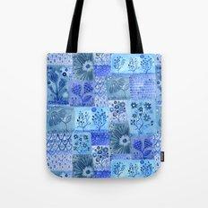 Blue Patchwork Tote Bag