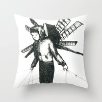 Boy Draws Wings Throw Pillow