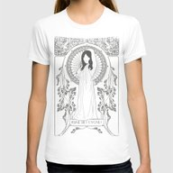 Reine Des Cygnes (Grey) Womens Fitted Tee White SMALL