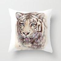 White Tiger 909 Throw Pillow