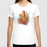 Giant Squid Womens Fitted Tee White SMALL