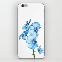 Blue Orchids Two - Watercolor iPhone & iPod Skin