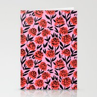 Red Peonies Stationery Cards