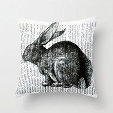 French Rabbit Throw Pillow