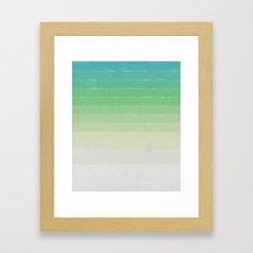 Shades of Ocean Water - Abstract Geometric Line Gradient Pattern between See Green and White Framed Art Print
