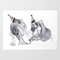 King Kong Loves T-rex Art Print