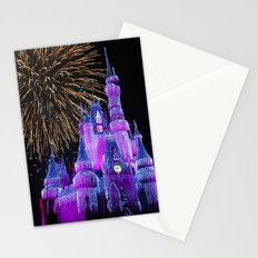 Disney Magic Kingdom Fireworks at Christmas - Cinderella Castle Stationery Cards