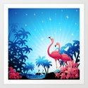 Pink Flamingos on Blue Tropical Landscape Art Print