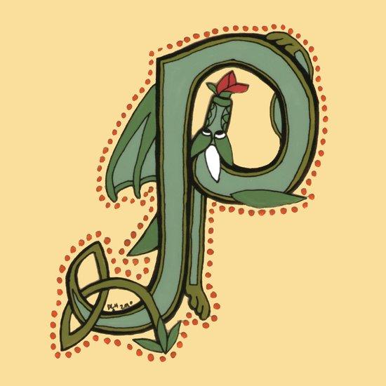 Celtic Dragon Letter P Canvas Print