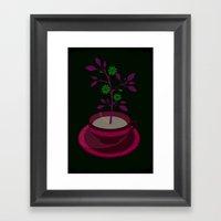 Auqa Planted Teacup Framed Art Print