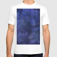 Galaxy Watercolor Texture Night Sky Stars SMALL Mens Fitted Tee White