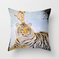 Giraffe Kissing Tiger Throw Pillow