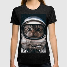 Space catet Womens Fitted Tee Tri-Black SMALL