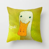 White Duck! Throw Pillow