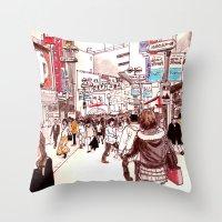 Street In Shibuya Throw Pillow