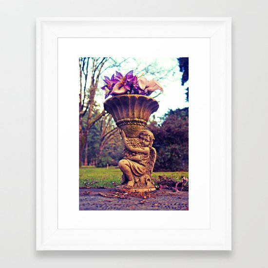 Graveyard statue Framed Art Print
