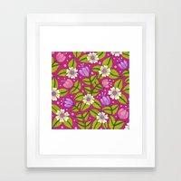 Tulips And Dogwood Flowe… Framed Art Print