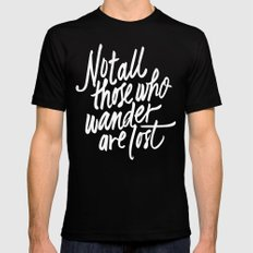 Not all those who wander Black SMALL Mens Fitted Tee