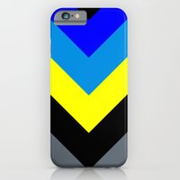 iPhone & iPod Case featuring V-lines Blue style by Roboz