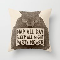 Nap All Day Sleep All Ni… Throw Pillow