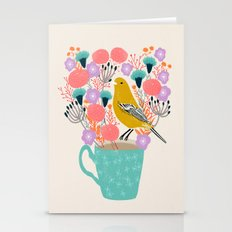Bird And Flowers - Warbl… Stationery Cards