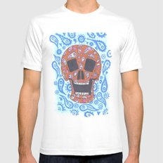 Paisley Skull White SMALL Mens Fitted Tee